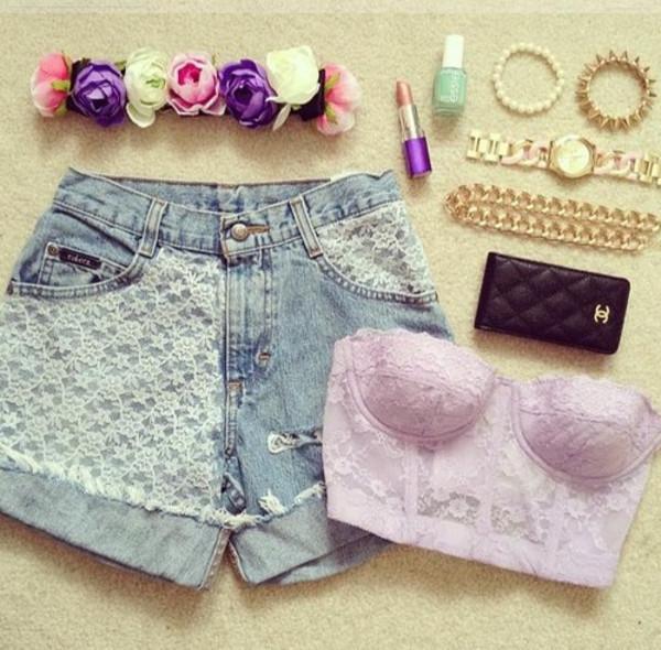shirt purple bustier flowers headband shorts lipstick bracelets chanel jewels hat High waisted shorts flower headband crop tops