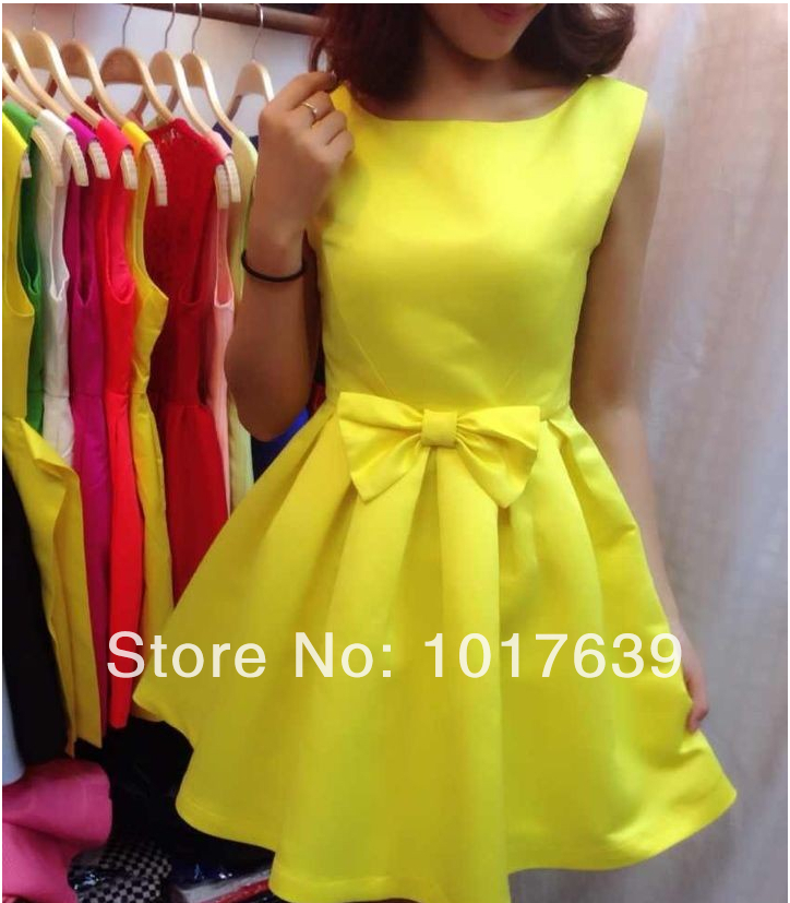 High quality2014 European Grand Prix new summer shiny new lossy bow sleeveless vest dress tutu dress bud skating-in Dresses from Apparel & Accessories on Aliexpress.com