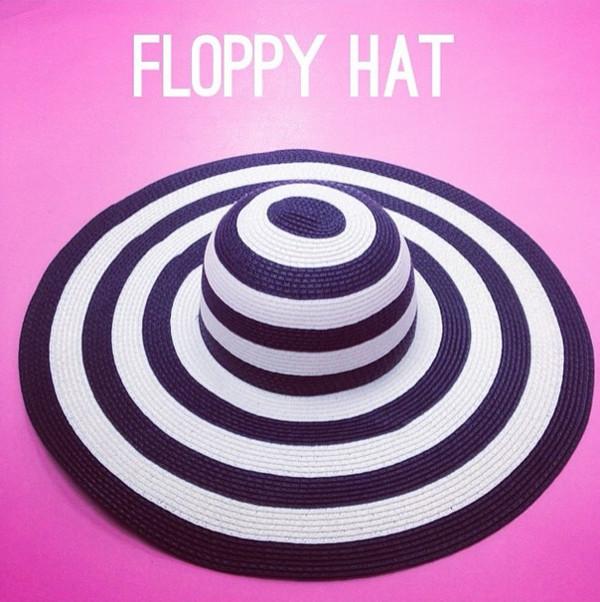 hat stripe hat fashion hat statement hat floppy hat summer hat