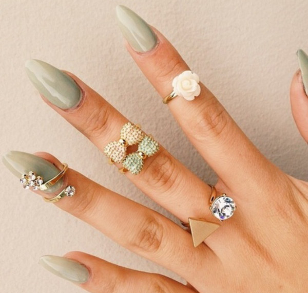 jewels beige mint bows roses gold ring