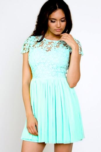Mint Crochet Dress-$80