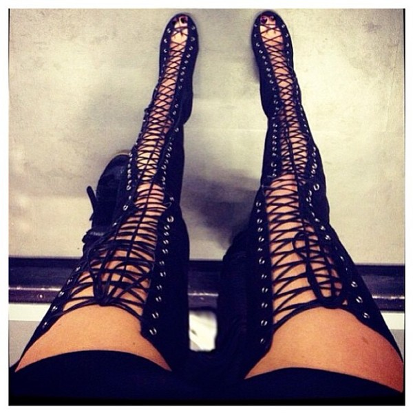 shoes high heels black high heels thigh highs thigh high boots thigh highs sexy peep toe boots peep toe lace up