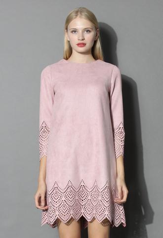dress blush pink suede shift dress chicwish pink suede shift