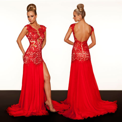Aliexpress.com : Buy Customized Sexy Front Slit Red Open Back Evening Gown Court Train Real Sample Red Lace Evening Dress 2013 New Arrival 61041R from Reliable dresses lace suppliers on Online Store 132162