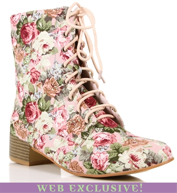 Pink Floral Lace Up Boots ($20-50) - Svpply