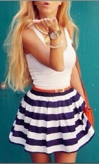 skirt blue skirt stripes white tank top nautical cute blue and white striped