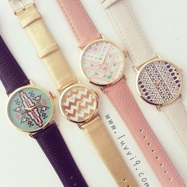 jewels watch elegant pink white ethno denim