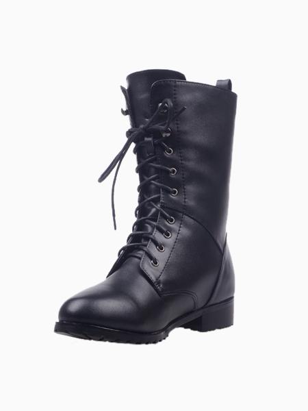 Black Lace Up Boots   Choies