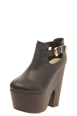 Jasmine Leather Look Buckle Trim Chunky Shoe Boot at boohoo.com