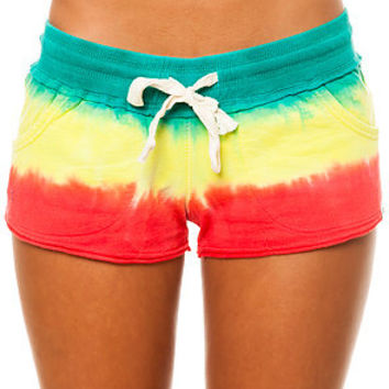 Vans Short Key Dip Dye French Terry in Rasta Red Yellow and Green on Wanelo