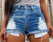 Hipster High waisted denim shorts jean cut offs by Jeansonly