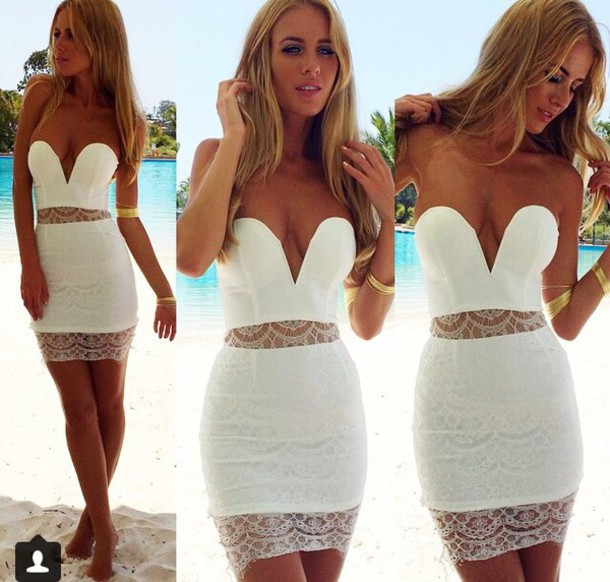 tight strapless dress bodycon dress white dress short dress dress white dress bodycon lace. cocktail dress denise lace dress