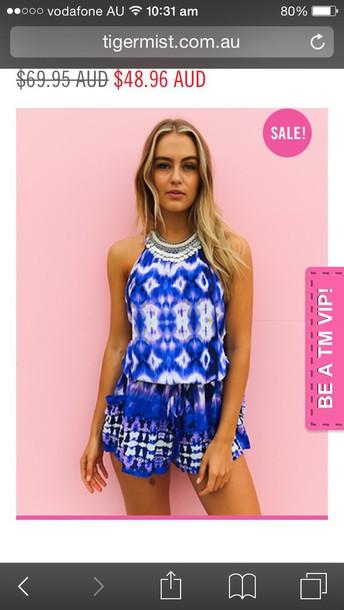 jumpsuit aztec blue playsuit jumpsuit. blue dress blue playsuit strappy back blue jumpsuit blue aztec blue print playsuit romper romper tigermist
