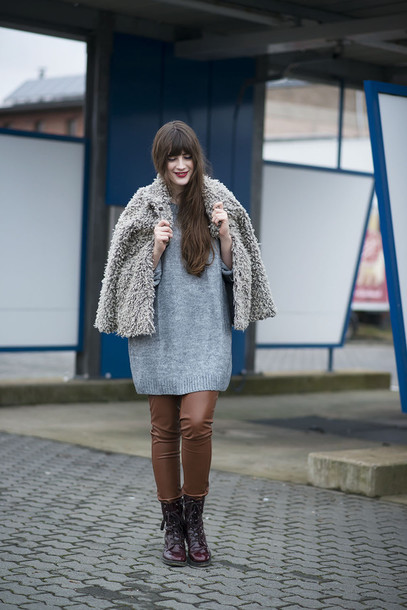 andy sparkles blogger leather pants fuzzy coat grey coat sweater dress combat boots winter outfits