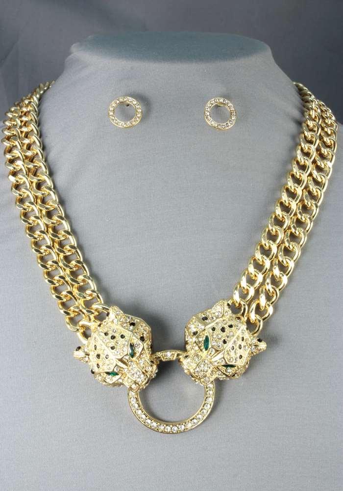 Double Gold Chain Leopard Jaguar Tiger Cat Crystal Pendant ...