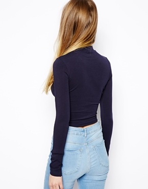 ASOS   ASOS Crop Top with Long Sleeves and Turtle Neck at ASOS