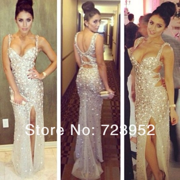 Actual Image Sexy Low Cut Straps Sparkle Rhineston Crystal Beading Cutout Sheath Side Slit Girls Fancy Prom Dresses 2013-in Prom Dresses from Apparel & Accessories on Aliexpress.com