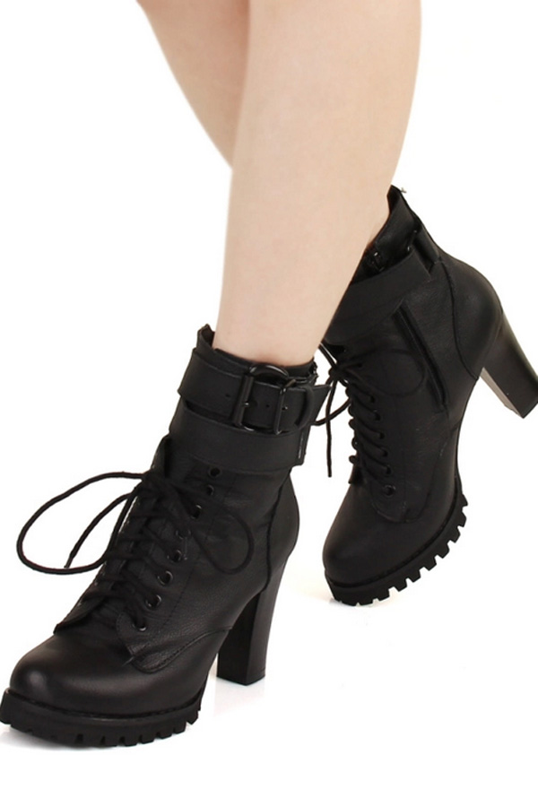 Pin Buckle Strap Embellished Lace-up Ankle Boots - OASAP.com