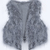 Grey V-neck Faux Fur Crop Gilet - Sheinside.com