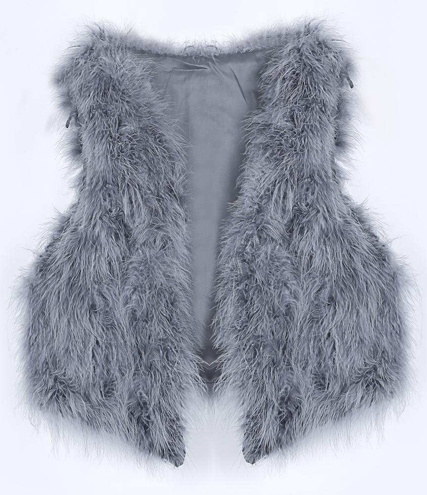 Grey V-neck Faux Fur Crop Gilet - Sheinside.com