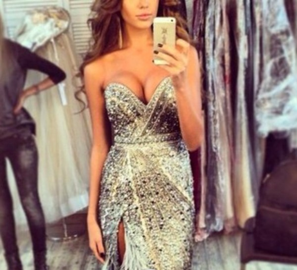 dress beautiful glitter silver diamonds amazing wauw chique gorgeous glitter dress