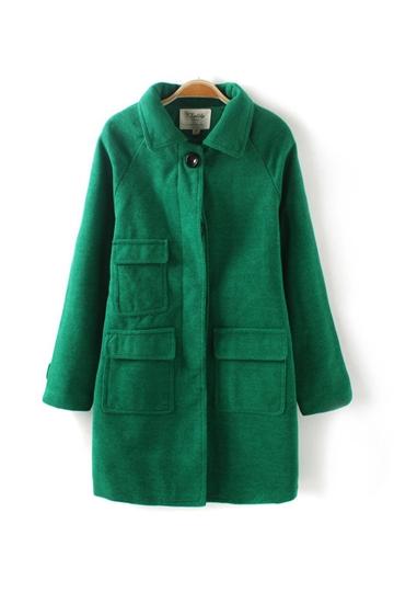 Pure Color Three Pockets Wool Coat [FEBK0392]- US$54.99 - PersunMall.com