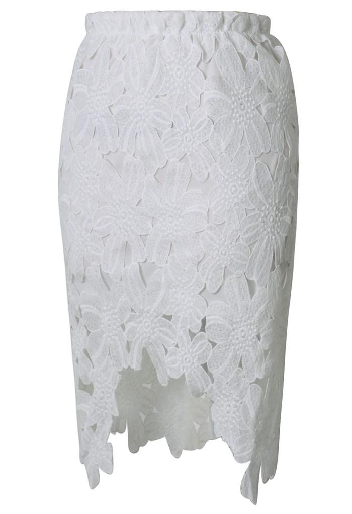 White Asymmetrical Lace Skirt - Sheinside.com