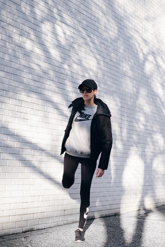 melissa araujo blogger sweater leggings shoes sportswear cap nike sports jacket