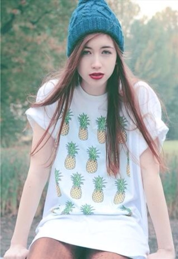 t-shirt pineapple white summer pale soft grunge