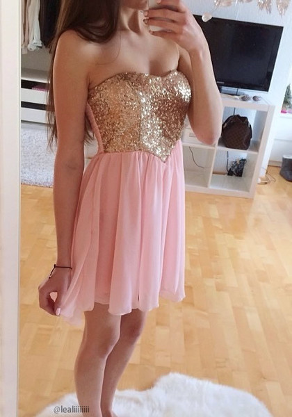 Sequins Bodice Dress - Baby Pink