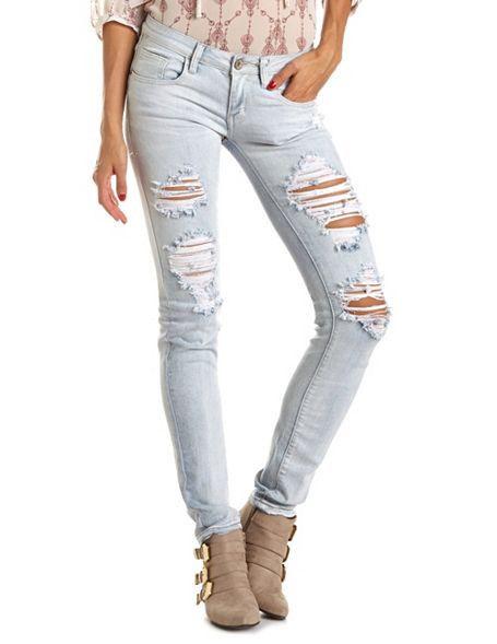 Machine Jeans Light Wash Destroyed Ripped Denim Skinny Size 7 | eBay