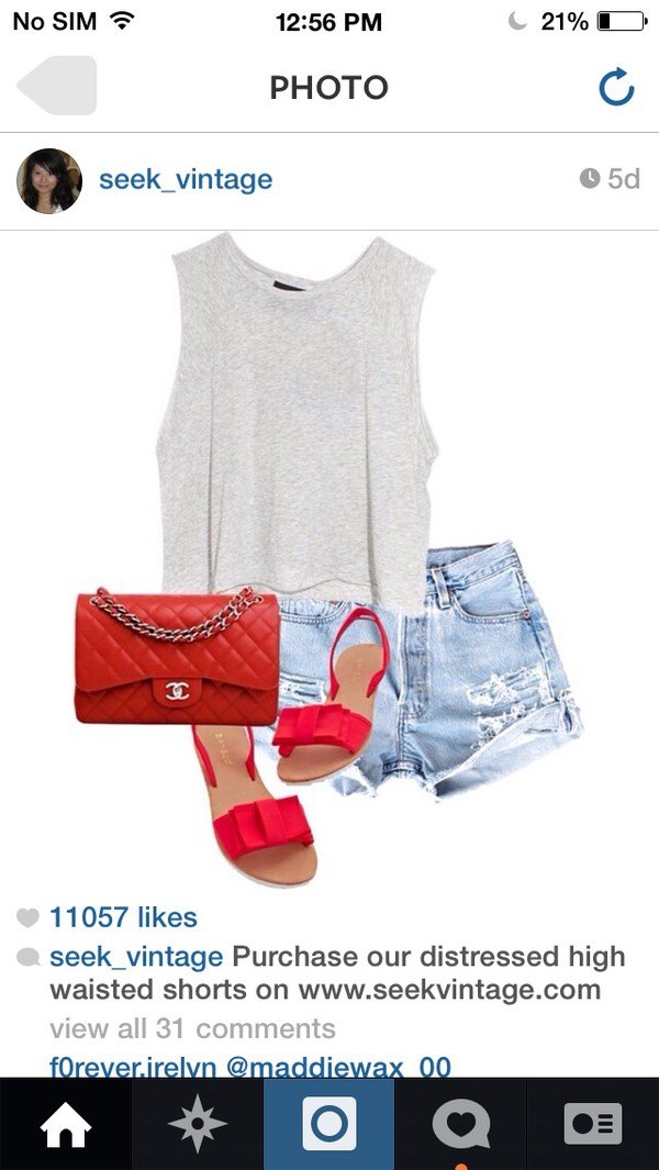 shoes comfy red sandals bows shorts chanel red purse shirt fashion summer ladies