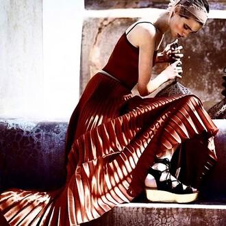 dress barbara casasola bronze metallic silk summer model luxury long skirt pleated skirt metallic pleated skirt