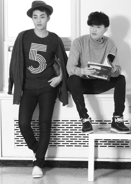 t-shirt guys singer korean fashion black