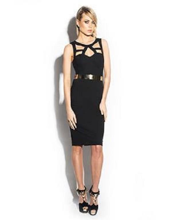size 10 medium dress cut-out dress black black dress party dress clothes cross over dress gold belt dress gold belt knee length dress belt