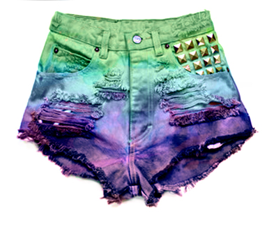 Hipster Jewel Tone Studded Shorts - Arad Denim