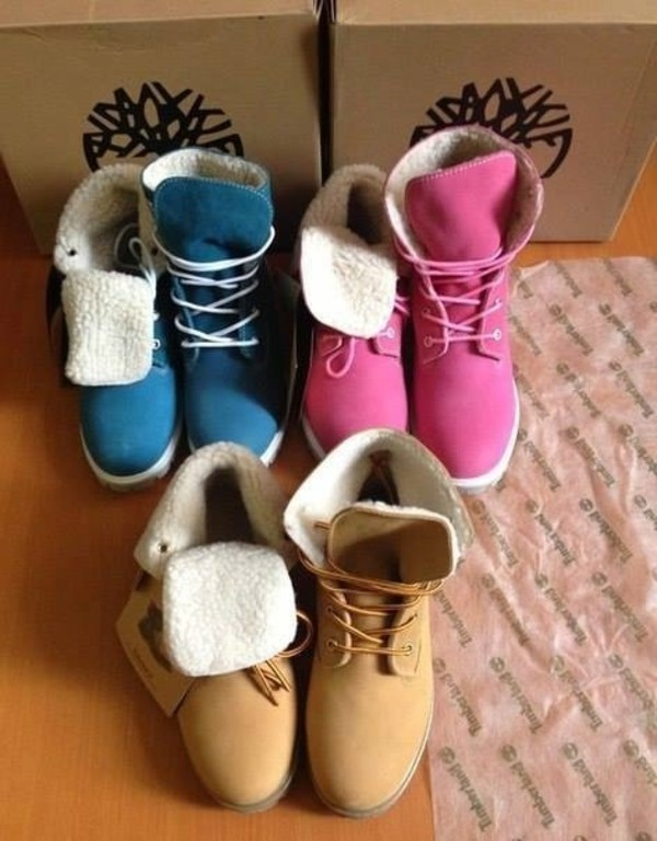 shoes timberlands blue pink winter boots