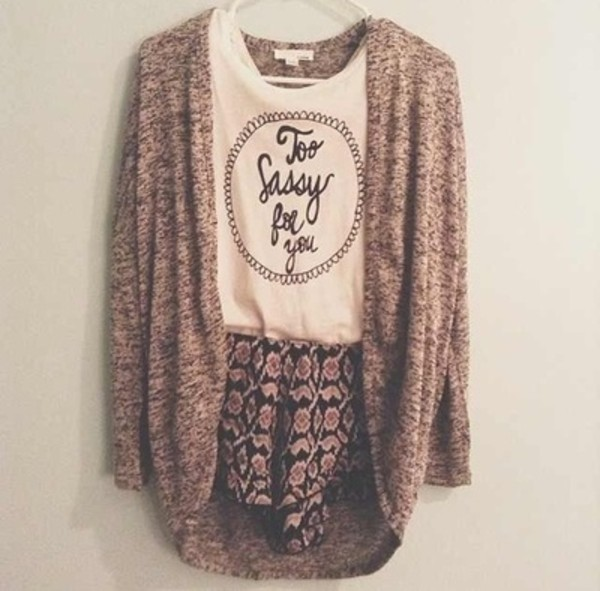 shirt vintage winter outfits sassy cute sweater shorts skirt beige skirt t-shirt boho bohemian indie flowers white tank top jacket blouse bag quote on it