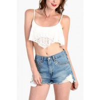 LoveMelrose.com From Harry & Molly   Lace Ruffle Crop Tops - White