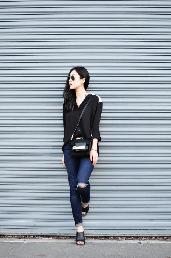 her imajination shirt belt jeans bag jewels shoes sunglasses blouse