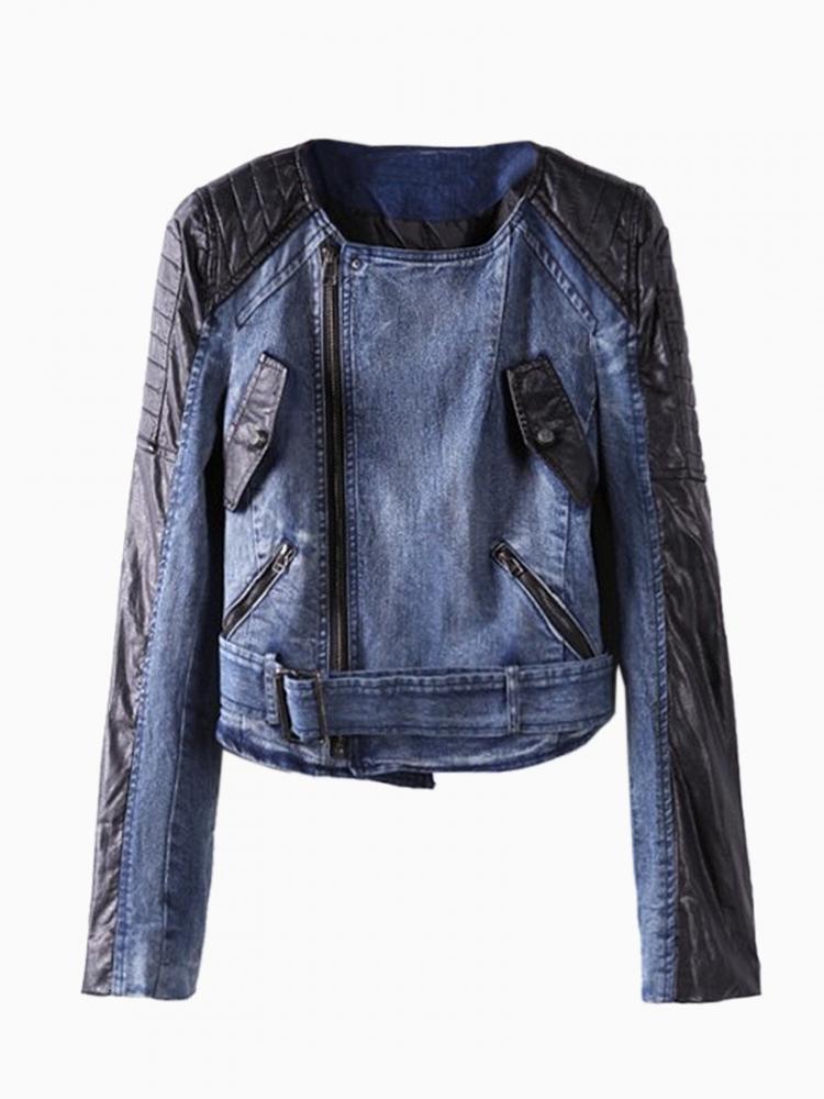 Denim Biker Jacket with Contrast PU Sleeves | Choies