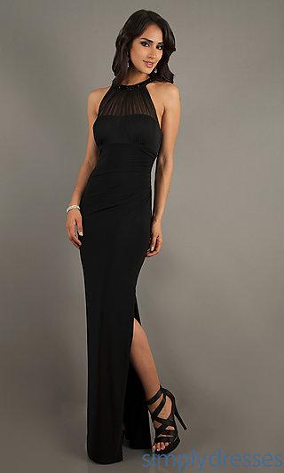 Long Black Halter Dress, Sheer Panel Formal Dress, Simply Dresses