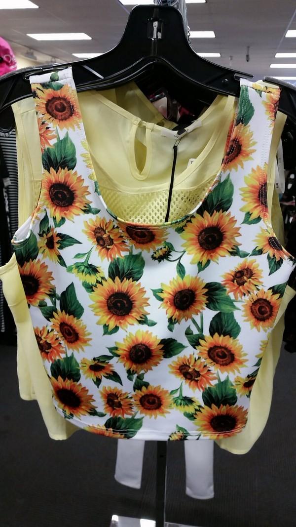 shirt sunflower shirt tank top white floral summer sunflower