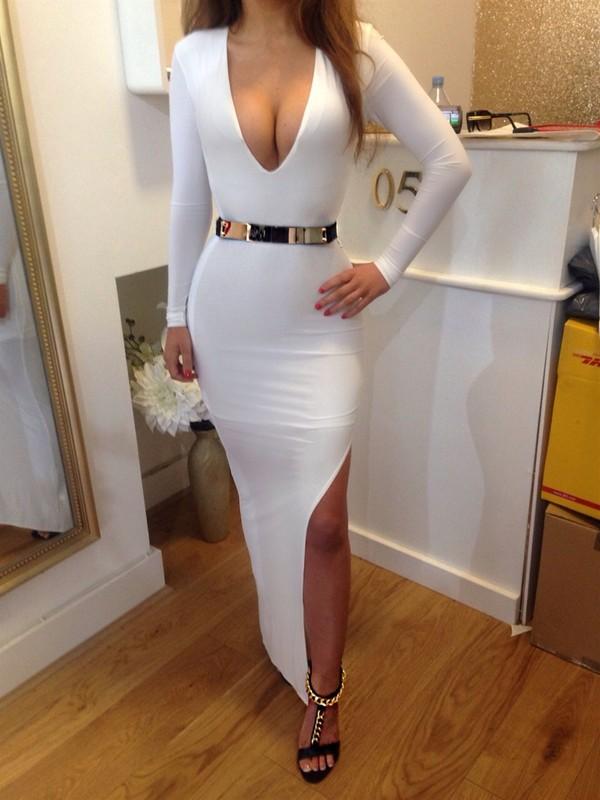 white dress dress belted dress bodycon dress white long dress long sleeve dress plunge v neck sexy dress party dress slit dress