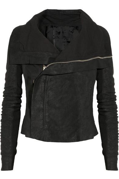 Rick Owens|Blister washed-leather biker jacket|NET-A-PORTER.COM