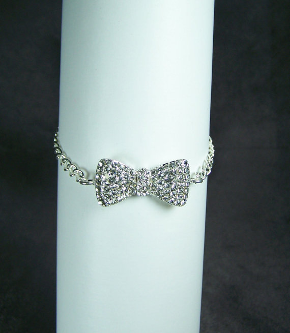 Bow Link Bracelet  Silver Tone Rhinestone by AprilsHandmadeJewels