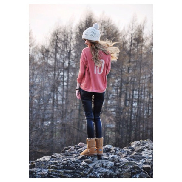sweater sporty pink casual cozy