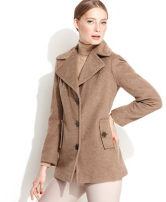 Calvin Klein Wool-Blend Double-Breasted Pea Coat - Coats - Women - Macy's