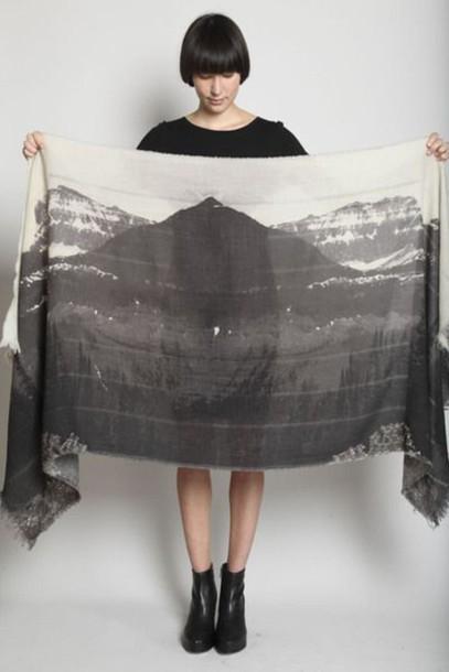 scarf mountain print silk screen print silk scarf printed scarf