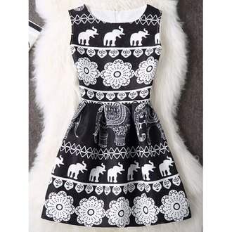 dress little black dress fashion summer spring style black and white black dress rose wholesale